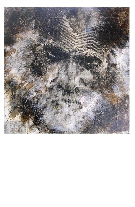 Ritratto-tecnica mista su carta e tela 50×50-2016